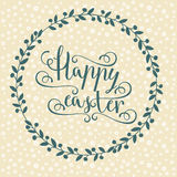 Hand calligraphic font with happy Easter text Stock Images
