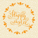 Hand calligraphic font with happy Easter text Royalty Free Stock Images