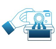 Hand with camera photographic instant isolated icon royalty free illustration