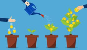 Hand with can watering money tree. Investment and profit represented by hands watering and picking money plants. Financial growth concept. Vector illustration Stock Image