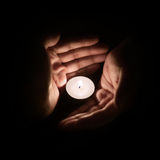Hand with candle Royalty Free Stock Photography