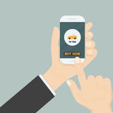 Hand and a car icon on smart phone.Businessman hand and online s Royalty Free Stock Image