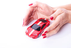 Hand with a car Royalty Free Stock Image