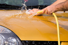 Hand car wash - bonnet Stock Photo