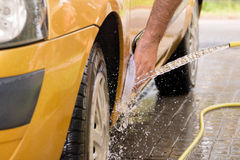 Hand car wash - side bottom front Stock Image