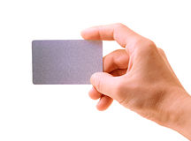 Hand with a card. Isolated on white background Royalty Free Stock Photos