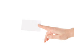 Hand and a card isolated on white background Royalty Free Stock Image