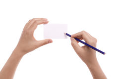 Hand card and pencil. Royalty Free Stock Photography