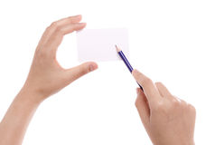 Hand card and pencil. Stock Photo