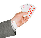 Hand and card in sleeve Stock Photos