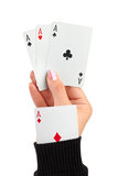 Hand and card in sleeve Royalty Free Stock Images
