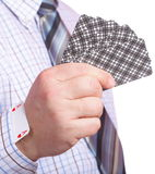 Hand and card in sleeve isolated Stock Image