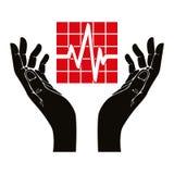 Hand with cardiogram vector symbol. Stock Photos