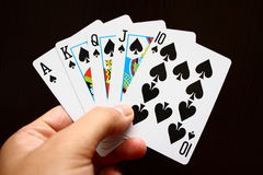 Hand with cards Stock Photos