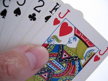 Hand of cards. A hand of playing cards royalty free stock images