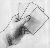 Hand with cards sketch Stock Photography