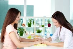 Hand care consultancy Stock Photo