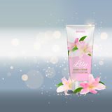 Hand Care Cream Bottle, Tube Template for Ads or Magazine Backgr Royalty Free Stock Photography