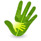 Hand care logo. Leaf emboss hand care logo with isolated background royalty free stock images