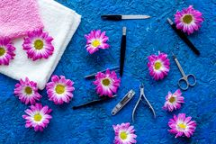Hand care. Set of manicure tools and flowers on blue background top view stock photography