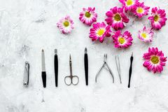 Hand care. Set of manicure tools and flowers on grey background top view copyspace Stock Photos