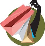 Hand and carrying bag vector illustration