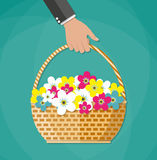 Hand Carrying basket with flowers Stock Photo