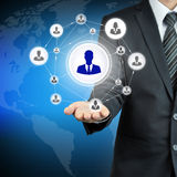 Hand carrying businessman icon network Stock Photos