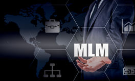 Hand carrying businessman icon network - HR,HRM,MLM, teamwork and leadership concept Stock Photo