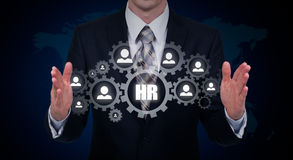 Hand carrying businessman icon network - HR teamwork and leadership concept. Royalty Free Stock Images