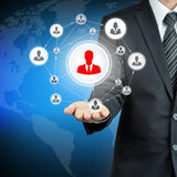 Hand carrying businesspeople icon network - team & network concepts Stock Image