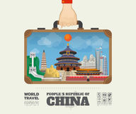 Hand carrying china Landmark Global Travel And Journey Infographic Bag. Vector Design Template.vector/illustration royalty free illustration