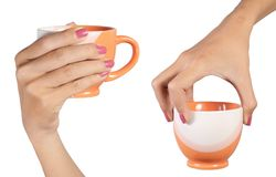 hand carrying the cup Royalty Free Stock Photos