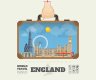 Hand carrying England Landmark Global Travel And Journey. Infographic Bag. Vector Design Template.vector/illustration Stock Photography