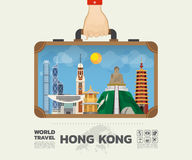 Hand carrying Hong kong Landmark Global Travel And Journey Infog. Raphic Bag. Vector Design Template./illustration Stock Photos
