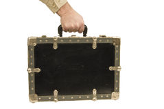 Hand Carrying Old Suitcase Stock Images
