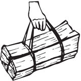 Hand carrying wood bundle Royalty Free Stock Images