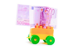 Hand cart and banknote euro Royalty Free Stock Photos