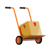 Hand cart with box Stock Photos