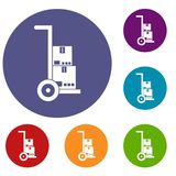 Hand cart with cardboards icons set Stock Image