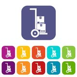 Hand cart with cardboards icons set Stock Photos