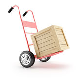 Hand cart and wooden box Royalty Free Stock Photo