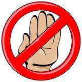 Hand Cartoon Style Stop Banned Stock Photography