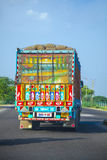 Hand-carved and brightly painted decoration on a truck in India Royalty Free Stock Photography
