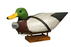 Hand carved Mallard Drake Decoy Duck. Isloated over white with a clipping path stock photo