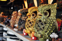 Hand-carved  owl statue Stock Image