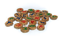 Hand carved and painted wooden runes Royalty Free Stock Images