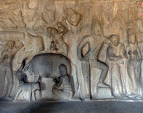 Hand carved painting found on wall in South India. Many years ago, Tamils did not have sophisticated machinery and so, the only way to carve artworks out of Royalty Free Stock Photography