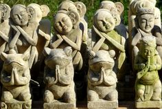 Hand carved statues for sale to tourists in Bali Stock Photos