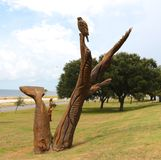 Hand Carved Wood Eagles Statue Royalty Free Stock Image